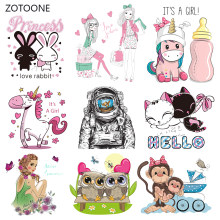 ZOTOONE Stripes Patches Iron on Transfer Pink Rabbit Dog Patches for T-shirts Girl Kid Clothing DIY Thermo Stickers on Clothes G(China)