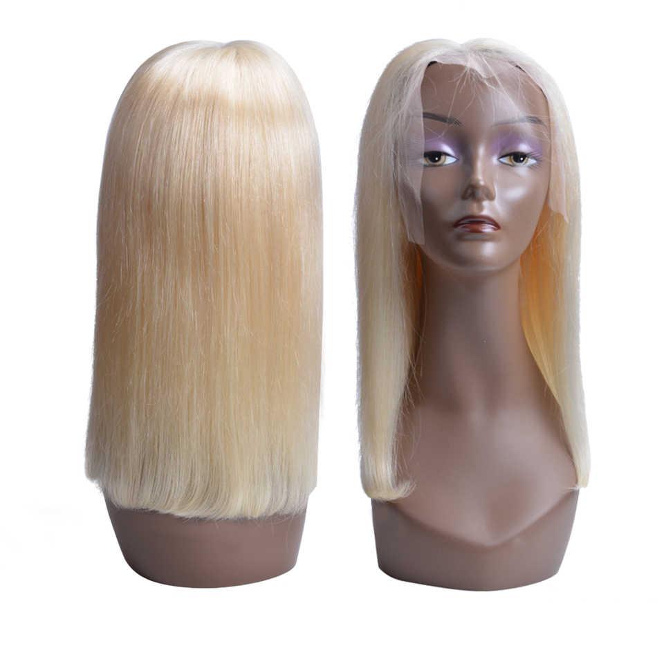 1B 613 Омбре блонд кружева фронта человеческих волос парики для черных женщин Бразильские короткие Боб прямые фронтальные парики предварительно сорвал