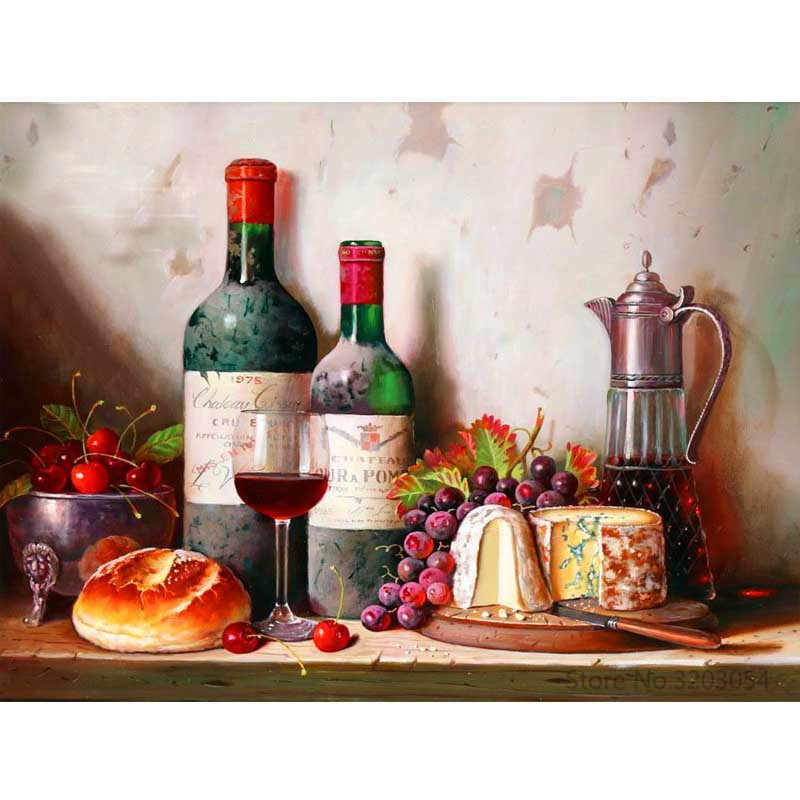 CHUNXIA Framed DIY Painting By Numbers Wine Fruit Acrylic Painting Modern Picture Home Decor For Living Room 40x50cm RA3129