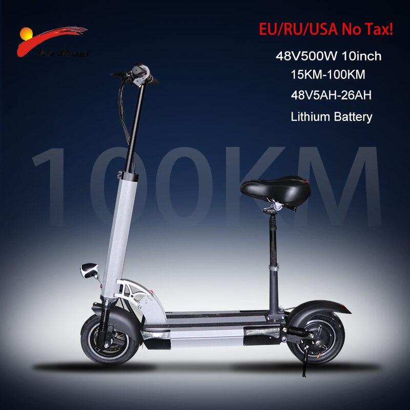 48v500w scooter elétrico de 10 polegadas roda do motor 26ah bateria lítio adulto pontapé e scooter nenhum imposto dobrável patinete elétrico adulto