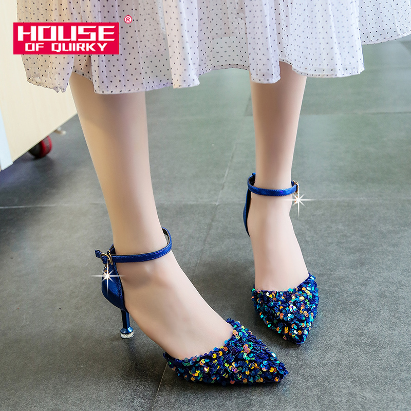 Sequined Pointed High Heels Women Sandals Thin Heels Pumps Women Shoes Wedding Party Shoes For Ladies Summer Shoes Woman 2019new