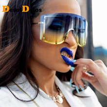 DesolDelos Retro Oversized Rimless Sunglasses Women One Piece Lens Sun Glasses Men Gradient Gafas de sol UV400