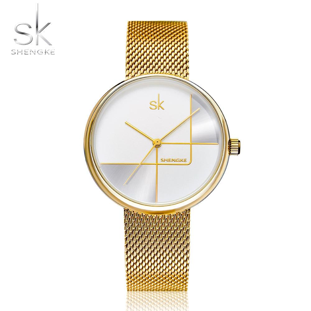 Shengke Gold Watch Women Watches Ladies Milan Mesh Steel Women's Bracelet Watches Female Clock GirlRelogio Feminino Montre Femme(China)