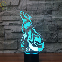 Modern Led 3D Wolf Lamp 7 Color Changing 3D Night Light Visual Led Amazing Night Lights For Kids Usb Table Lampa
