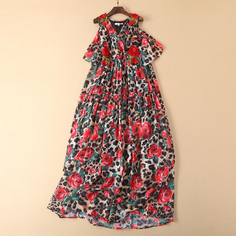 S 5XL Red RoosaRosee 2019 Summer Runway Red Floral Embroidery Sexy Leopard Print Long Maxi Party