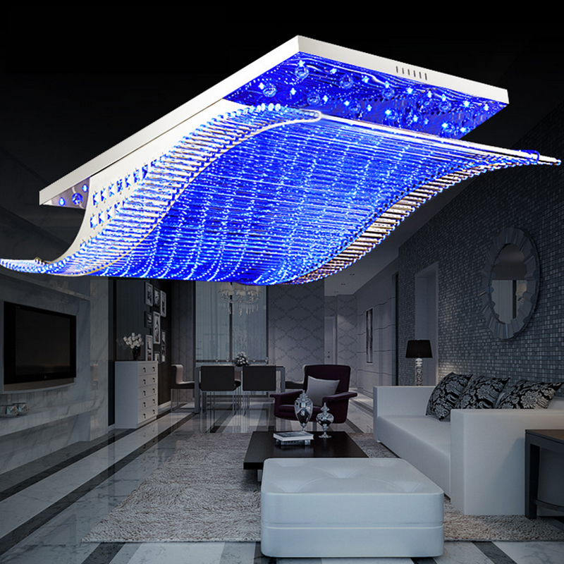 Modern Crystal Chandelier LED Color Change With Remote Control Organ   Style RGB Lustre Ceiling Lamp Deco Chandeliers 11