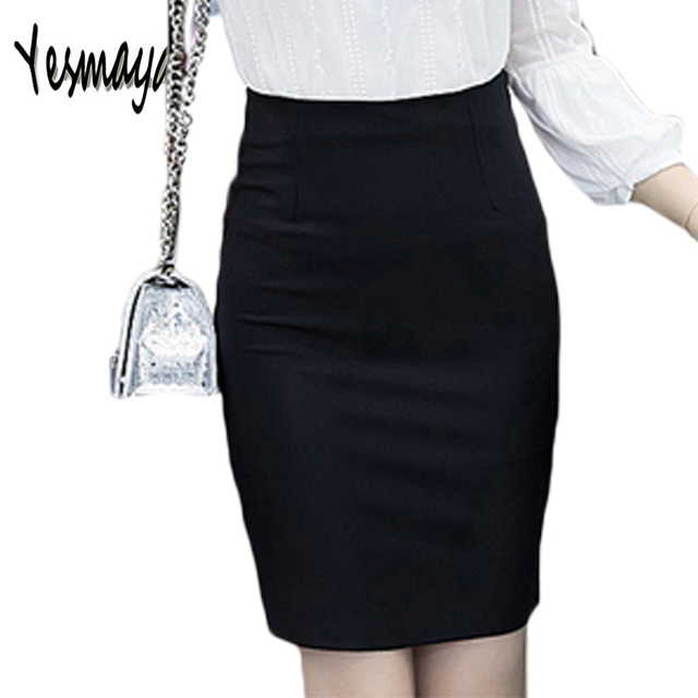 174576686f Women s Spring 5XL Plus Size Slim Sexy Formal Office Skirt Faldas Women  Elastic High Waist Black Pencil Skirt Saias Skirts 2018