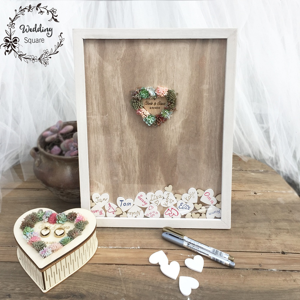 Wedding drop box Wedding Succulent Cactus Wrcath Personalised Guest book Frame Sign Book Wedding decoration wooden