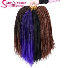 5packs/lot 30strands/Pack Sallyhair Ombre Braiding Hair Thin Senegalese Synthetic Crochet Twist Braids Hair Crochet Braids