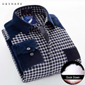 U&SHARK 2016 Winter Mens Slim Fit Warm Duck Down Casual Shirts Thicken Fleece Shirt Long Sleeve Male Blue Plaid Chemise Homme
