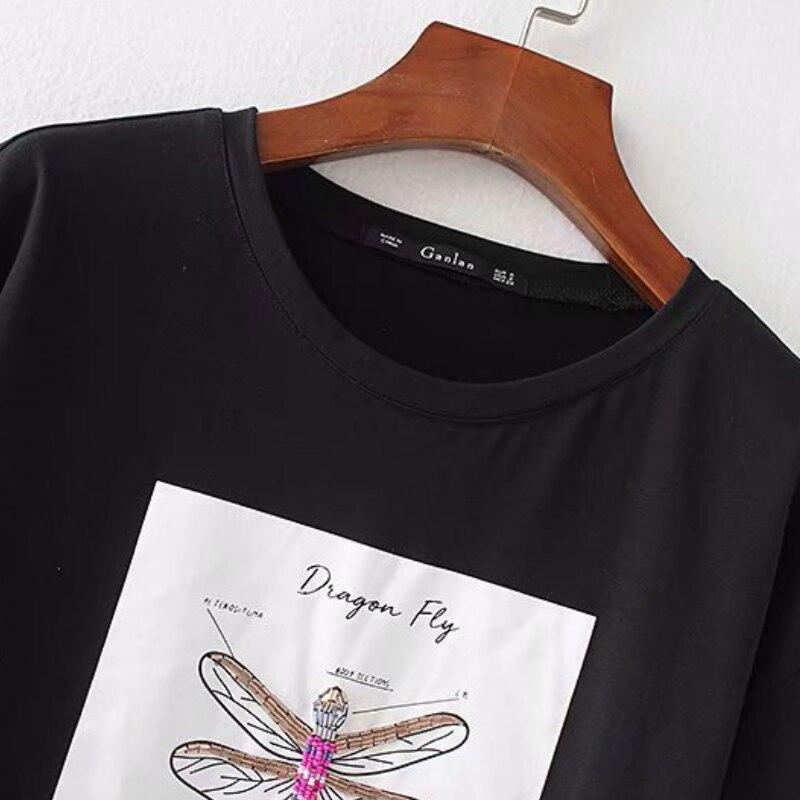 Chic perlen brief print schwarz stricken t-shirt mode frauen kurzarm tops casual bodenbildung shirt femme t-shirt T928