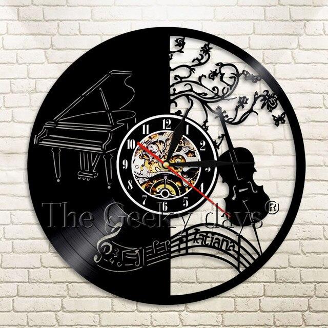 1 шт. музыкальный инструмент Виниловая пластинка Настенные Часы Скрипка для фортепиано светодиодный часы с подвеской время часы Современный музыкальный настенный художественный домашний декоративный
