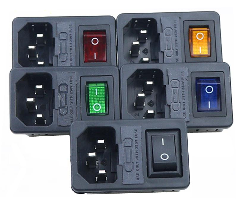 цена на With 10A Fuse! Red yellow Green Blue Black Rocker Switch Fused IEC320 C14 Inlet Power Socket Fuse Switch Connector