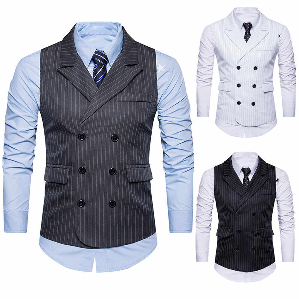 8c5bd78444f ... Men Business waistcoat Suit Vests Gentlemen gilet Mens Double Breasted Shawl  Collar Stripe Formale Vest slim