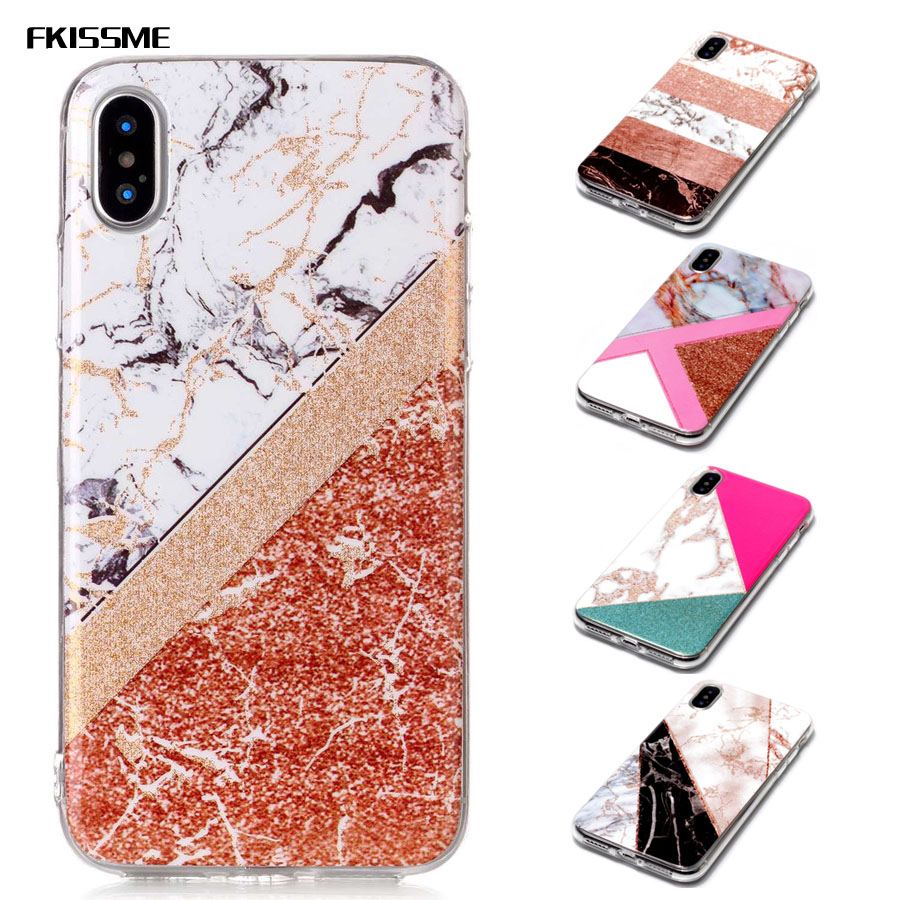 FKISSME Glitter Marble Case for iPhone X Case Glossy Soft TPU Back Cover for iPhone X Geometry Stone Pattern Phone Cases Coque
