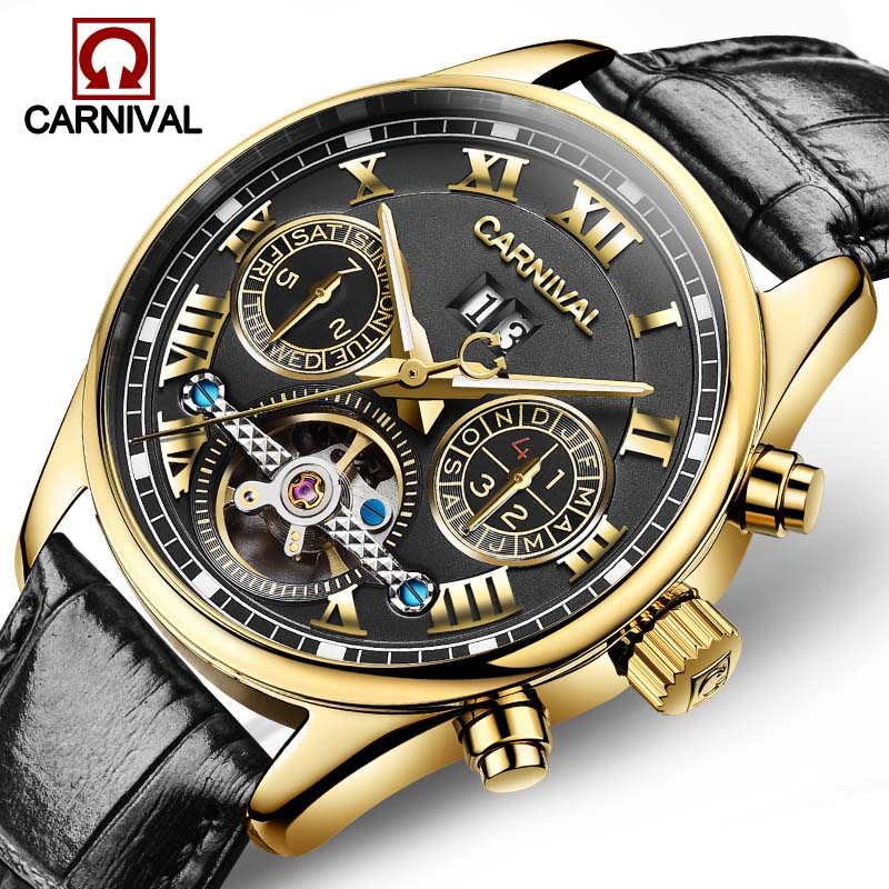 2018 Luxury Brand Men Self-wind Waterproof Genuine Leather Strap Automatic Mechanical Male Black Dial Fashion Tourbillon Watch forsining latest design men s tourbillon automatic self wind black genuine leather strap classic wristwatch fs057m3g4 gift box