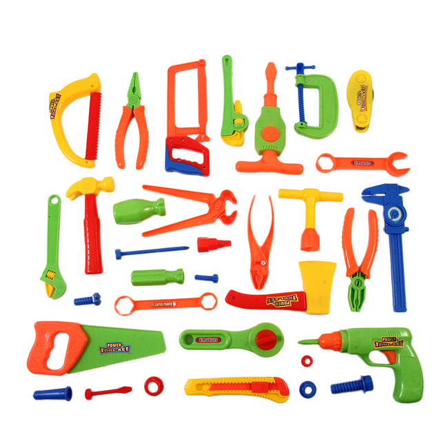 cfd86e2bd 32 pcs Repair Tools Set Power Tools Children Toys Craftsman Role-play  Simulation Fixing Toys PVC Boy Toy Portable Kit