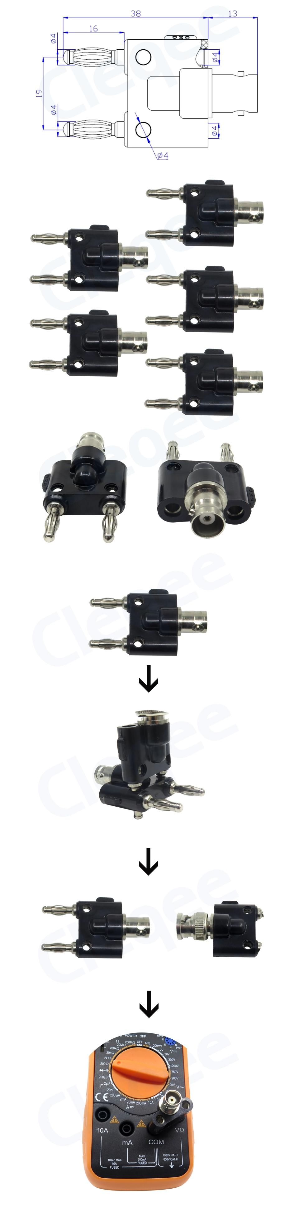 5PCS P7006 BNC Adapter Female Jack Dual Banana Binding Male Connector Wholesale