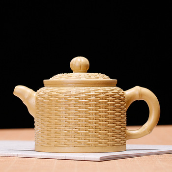 370ML large capacity Ore mud duan handmade bamboo woven basket yixing teapot kung fu kettle drinkware suit puer Oolong tea