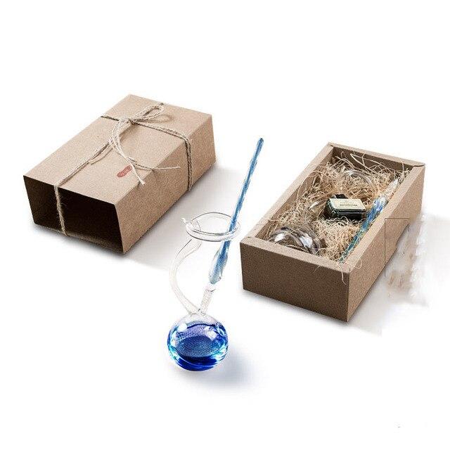 Vintage Kristal Cam divit kalem Yaratıcı kalemlik Hediye kutu seti Kaligrafi cetvel kalemi Öğrenci sevgililer Günü Doğum Günü Anne
