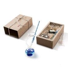 Vintage di Cristallo di Vetro Dip Penna con supporto Della Penna Creativa del Regalo Box Set di Calligrafia Disegno A Penna Studente di san valentino Di Compleanno Madre