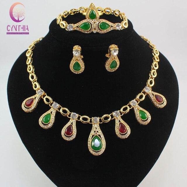 Fashion Vintage African RedGreen Gem Rhinestone Beads Costume