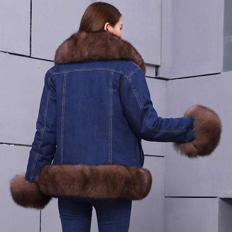 Jeans Courtes Vestes Épais Parkas Réel Fourrure Casual Veste Femelle Femmes Doublure De color Vintage Hiver Amovible 3 Manteau color Parka Renard Color Denim 1 2 rfwqrYXx