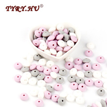 TYRY.HU 30Pcs lentil Silicone Beads lettre Baby Teething DIY Charming Jewelry Bracelet Crib Toy Teether