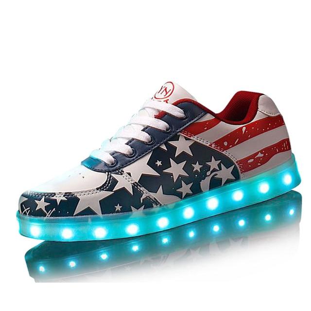 Luminoso Zapatos unisex Hombres de la bandera Americana USB Recargable Luz Led que brilla intensamente Led Zapatos para Adultos Zapatos Casuales Para Hombre Zapatos de Purpurina