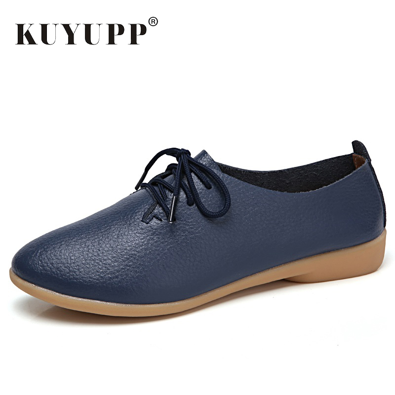 Genuine Leather Women Flat Fashion Causal Loafer Pointed Toe Women Shoes Big Size 35-44 Lace Up Ladies Shoes New Arrival YD700 цена в Москве и Питере