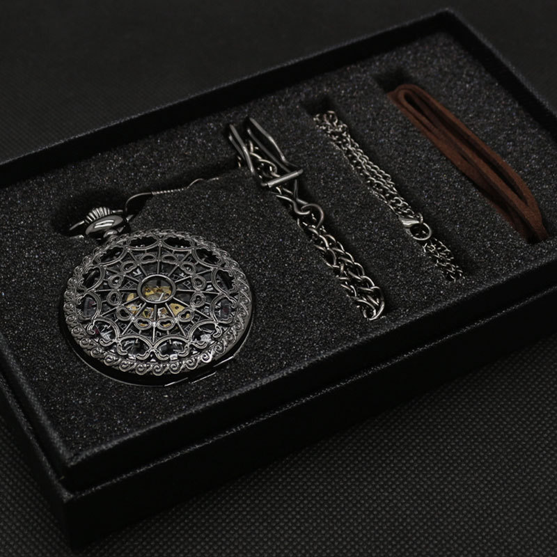 Bronze Mechanical Hand Wind Pocket Watch Gift Good Quality with Gift bag Leather Strap Gift box and Necklace Chain P825WBWB цена