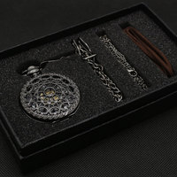 Bronze Mechanical Hand Wind Pocket Watch Gift Good Quality with Gift bag Leather Strap Gift box and Necklace Chain P825WBWB