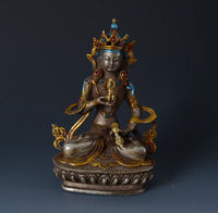 Chinese Carved rare Tibet Buddhism Vajrasattva Silver Plated Copper Statue