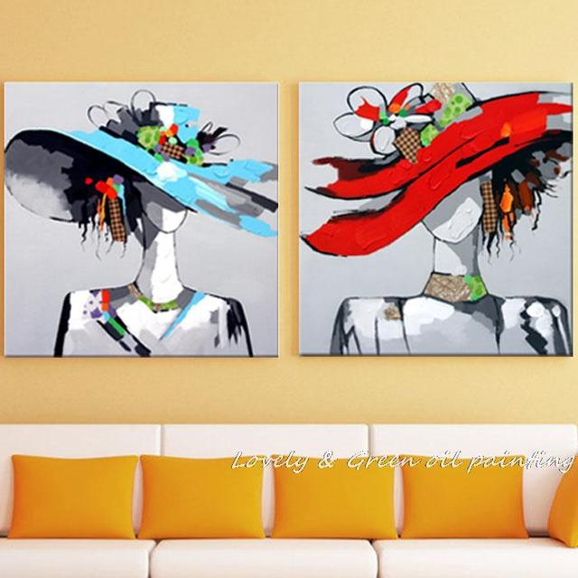 100% Hand Made Modern Beautiful Straw Hat Girl People Abstract Art ...