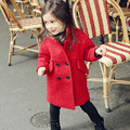 Дети Зимнее Пальто Девушки Длинные Куртки Корейский младенца Кашемир шерстяное Пальто толщиной Верхняя Одежда 2-7 Год