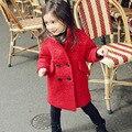Niños Niñas Abrigo de Invierno Largas Chaquetas de Corea del bebé grueso de la Cachemira de lana Abrigos Outwear 2-7 Años