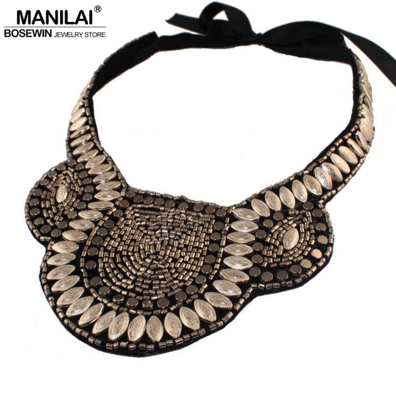 MANILAI Egyptian pharaoh's Collar Necklaces Vintage Beads Boho Statement Chokers For Women Dress