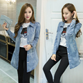 2016 Women Denim Jacket Plus Size Autumn Long Sleeve Denim Jacket For Women Jeans Jacket Women Outwear Denim Coat