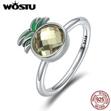 WOSTU New Collection 100% 925 Sterling Silver Fresh Sweet Freshing Pineapple Ring Female Anniversary Engagement Jewelry CQR224(China)