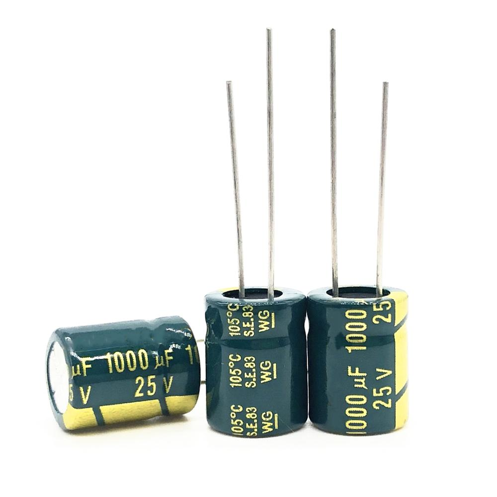 20pcs/lot High Frequency Low Impedance 25v 1000uf 10*13MM Aluminum Electrolytic Capacitor 1000uf 25v 25V1000uf 20%