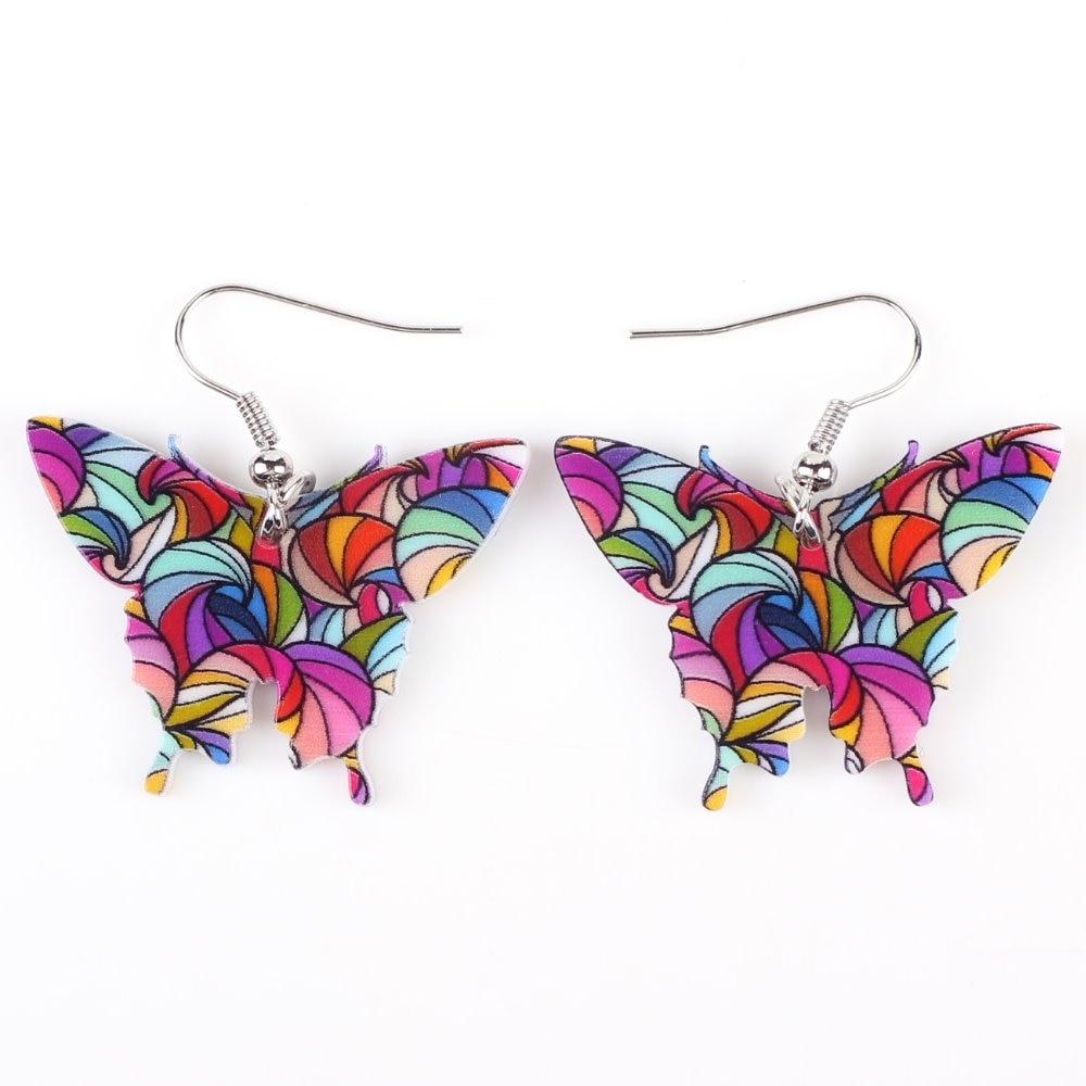 Bonsny Drop Butterfly Earrings Long Acrys
