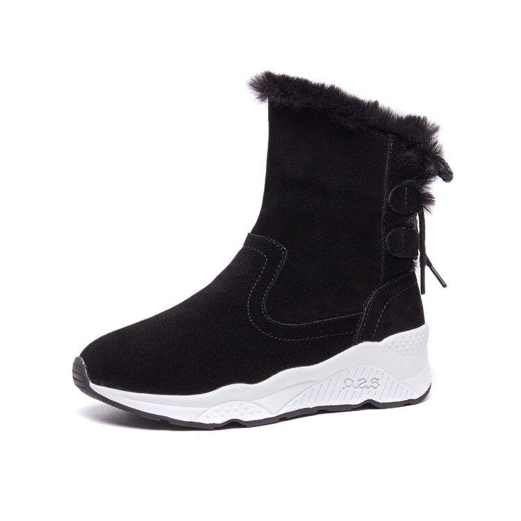 Aumentan Marca Nuevos Cuñas Zxryxgs 2018 Real Nieve Invierno azul De Botas Cómodas Cuero Cálidas Las Zapatos Mujer Moda Casuales Negro OzB5fgwqc