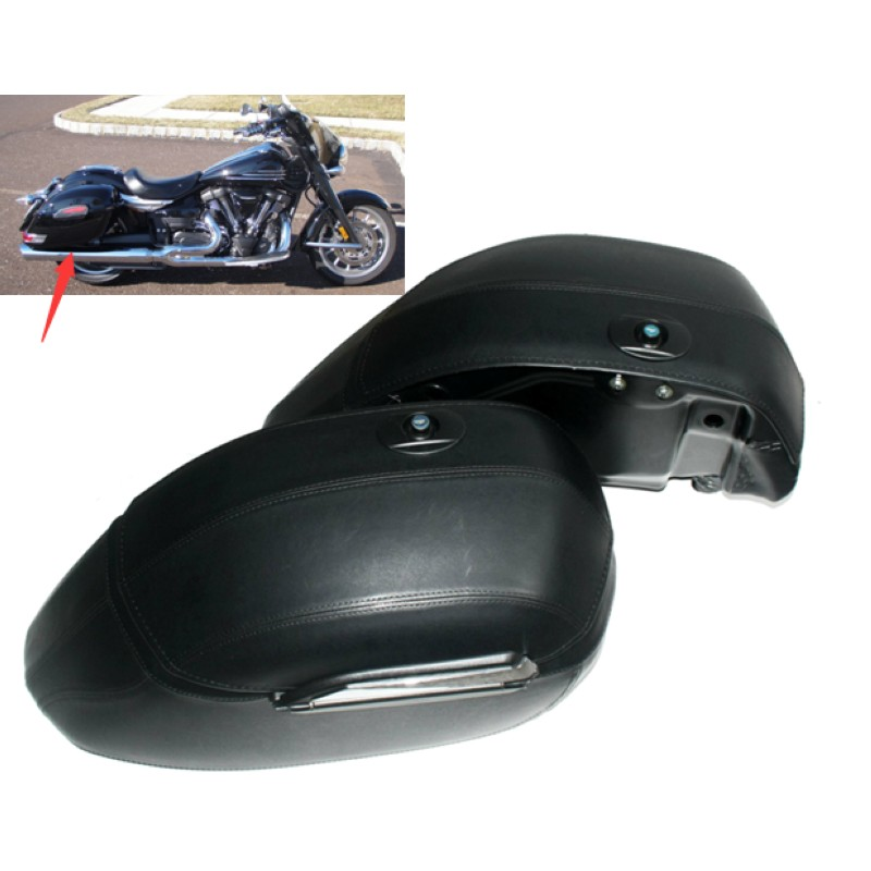Motorcycle Black Universal Hard Bag Saddlebags For Honda Suzuki Kawasaki Harley Yamaha Victory for harley yamaha kawasaki honda 1 pair universal motorcycle saddle bags pu leather bag side outdoor tool bags storage undefined