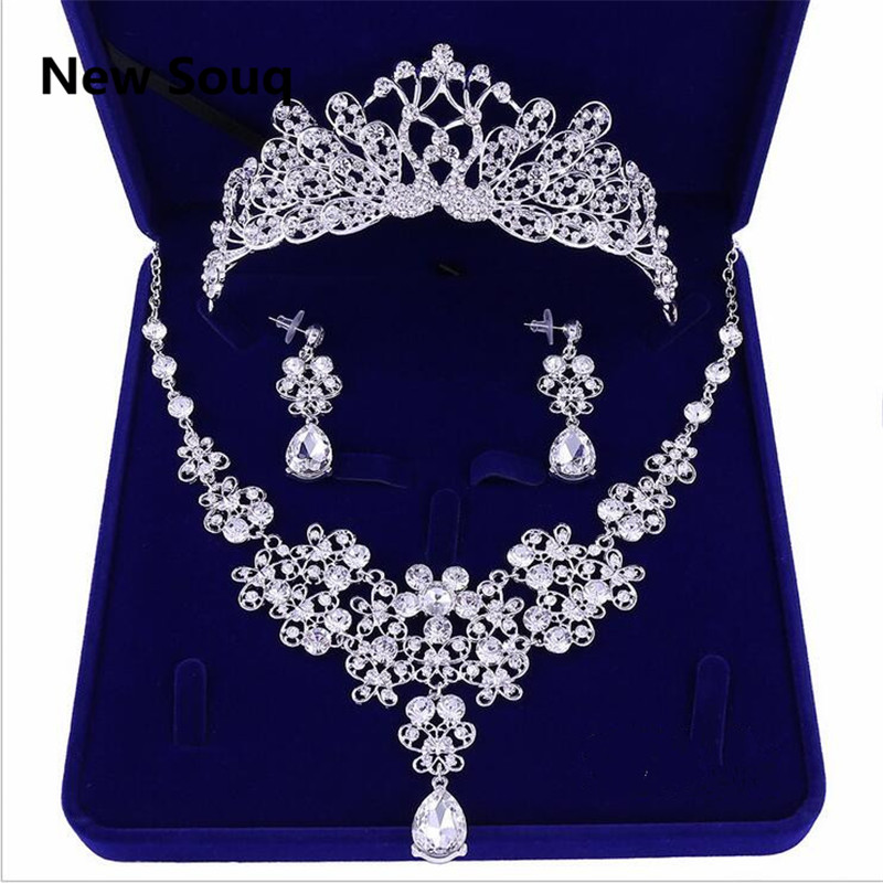 Necklace Earrings Head-Decorations Bridal-Jewelry-Set Wedding-Accessories Crystal Bride