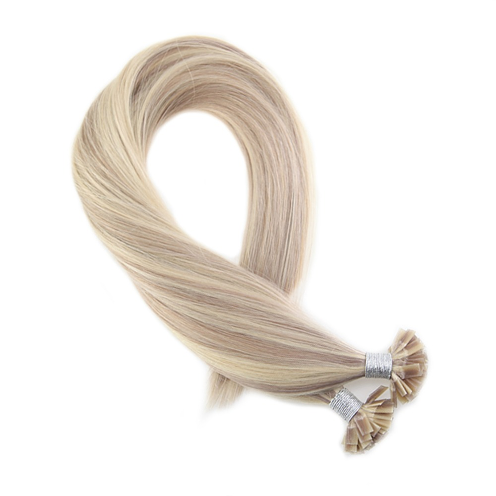 Moresoo Straight Fusion Keration Flat Tip Ash Blonde Highlight With Bleach Blond Machine Remy Human Hair 1.0g/s 50g/pack