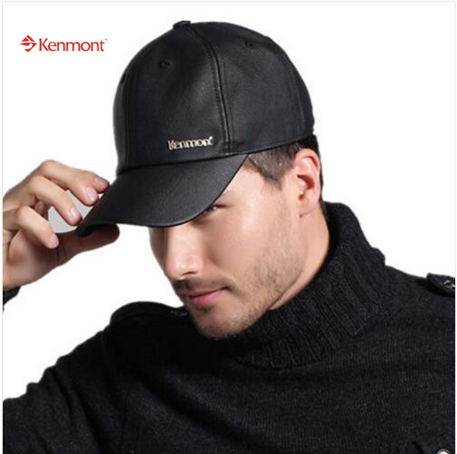Free Shipping Kenmont Spring Autumn Winter Outdoor Men Baseball Caps PU Leather Black Hats Fleece Lining Gifts 2219