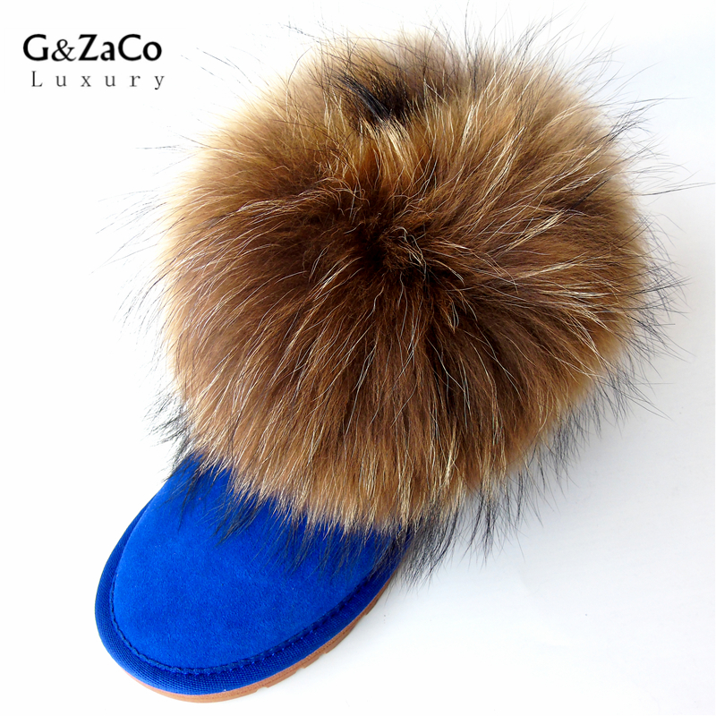 G&Zaco Luxury Women Snow Boots Large Natural Fox Fur Ankle Boots Female Suede Leather Winter Boots Raccon Fur Low Flats Shoes suede ankle snow boots