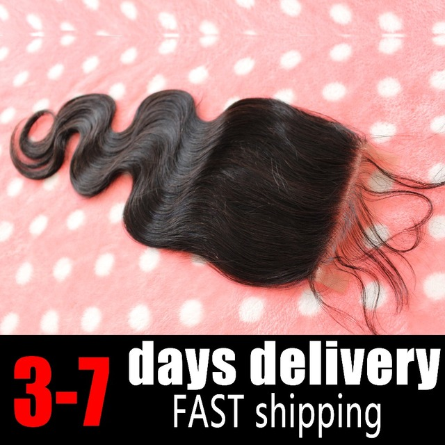 Human Hair Closure Piece Fast Shipping 4*4 Body Wave 2 Curved O Part 3 Part Part Lace Closure Bleached Knot Brazilian Virgin Bla