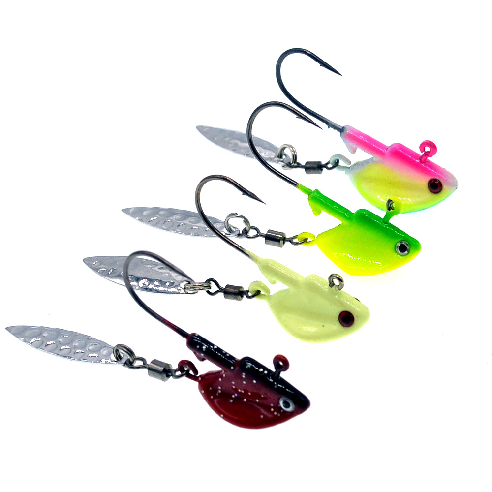 Ufishing Spinner Fishhook 2019 Lead Jig Head Fishing Hooks 3.5g 7g 10g High Carbon Steel Barbed Hook for Soft Lure
