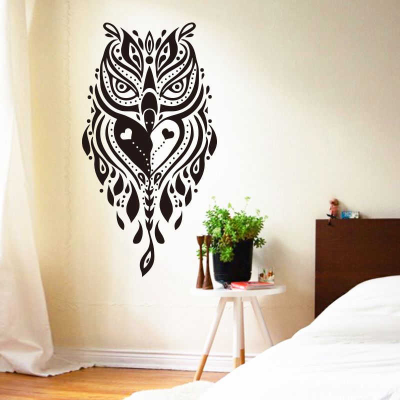 Art Design Cheap Home Decoration Vinyl Cool Creative Owl Wall Sticker Removable Pvc House Decor Animal
